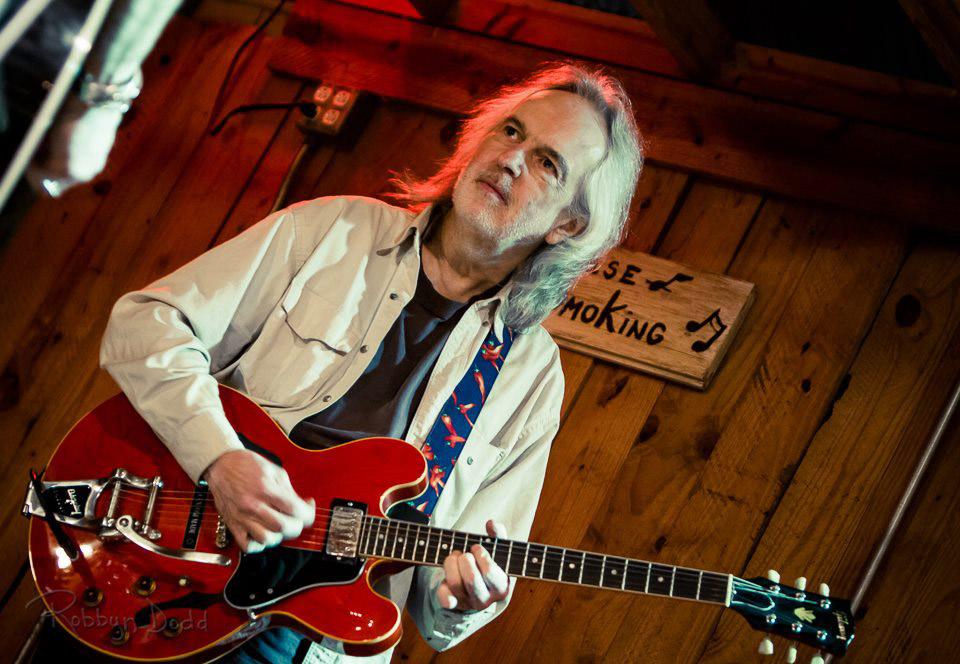 Gurf Morlix with red Gretsch guitar